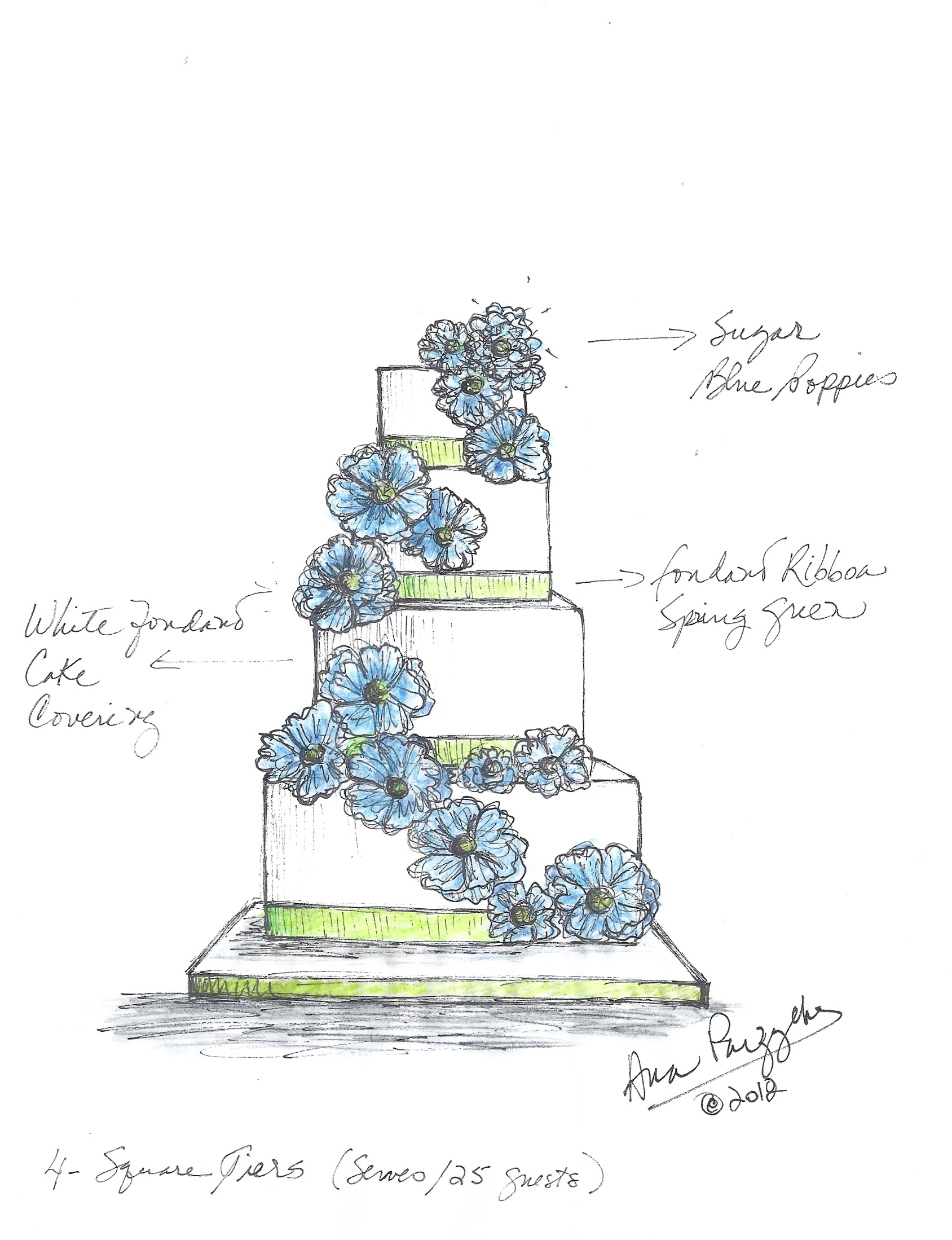 1688x2198 Blue Poppies Wedding Cake Sketch Sketches Blue