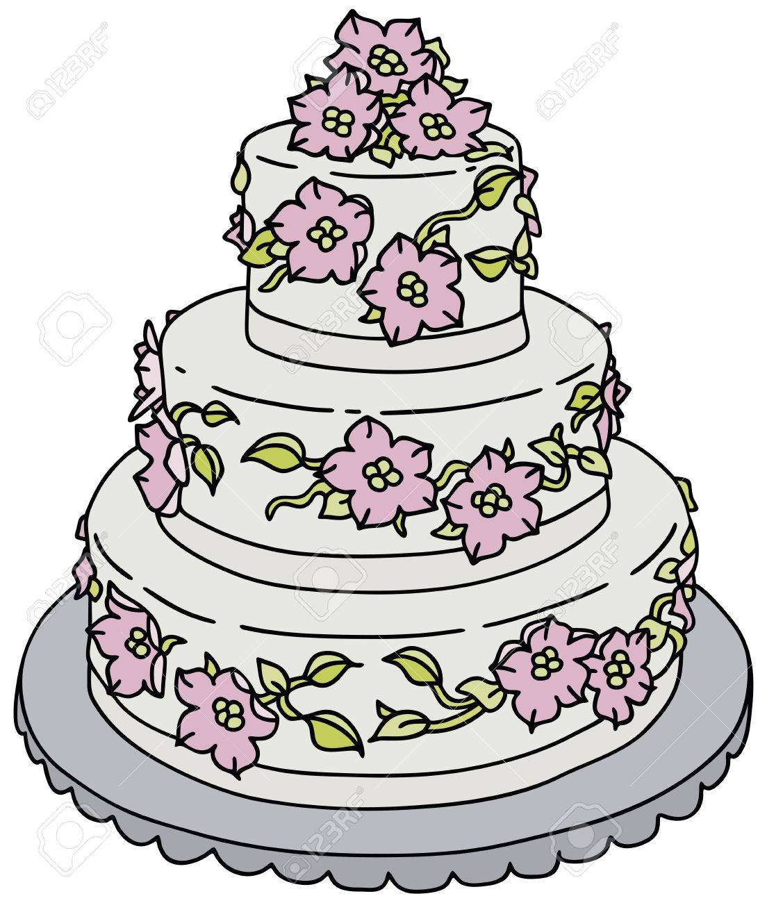 1104x1300 Hand Drawing Of A Big Wedding Cake Royalty Free Cliparts, Vectors