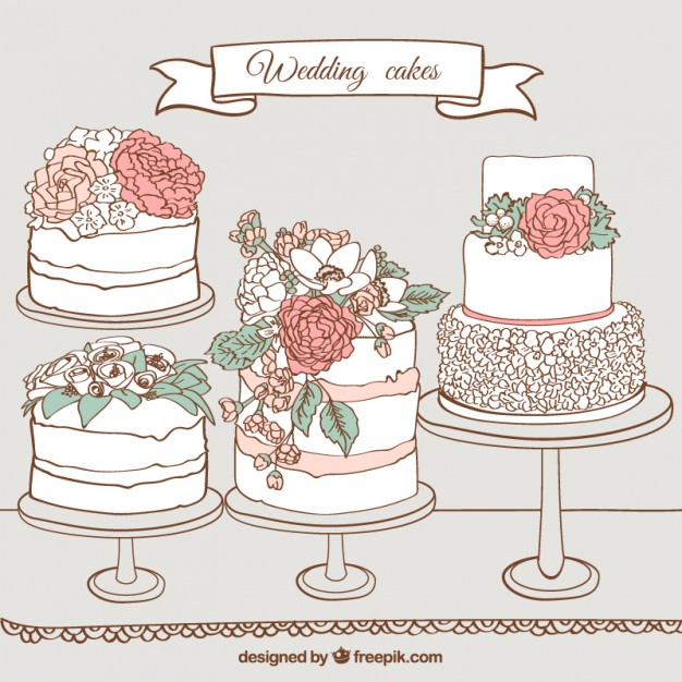 626x626 Hand Drawn Wedding Cakes Vector Premium Download