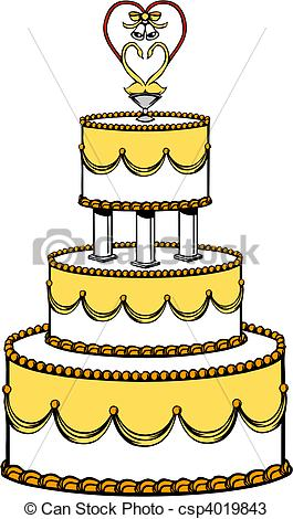 265x470 Vector Illustration Of A Wedding Cake. Vectors