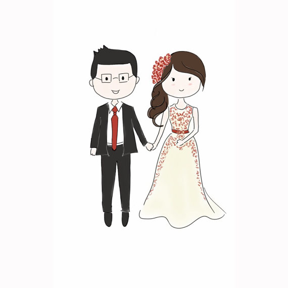 570x570 Chibi Couple Drawing Save The Date Couple Doodle Drawing