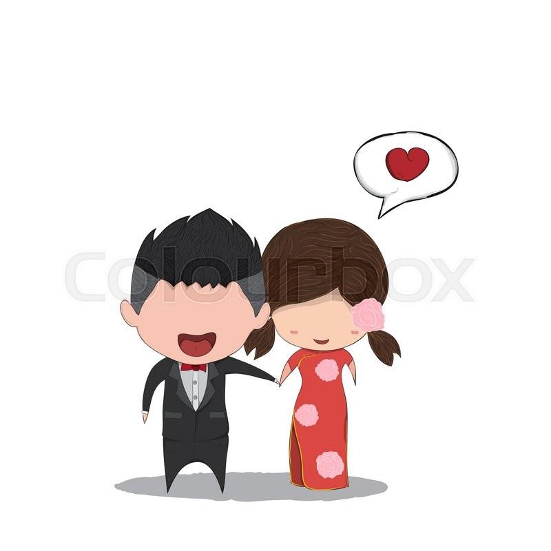 800x800 Cute Cartoon Wedding Couple Men And Women Chinese Marriage, Cute