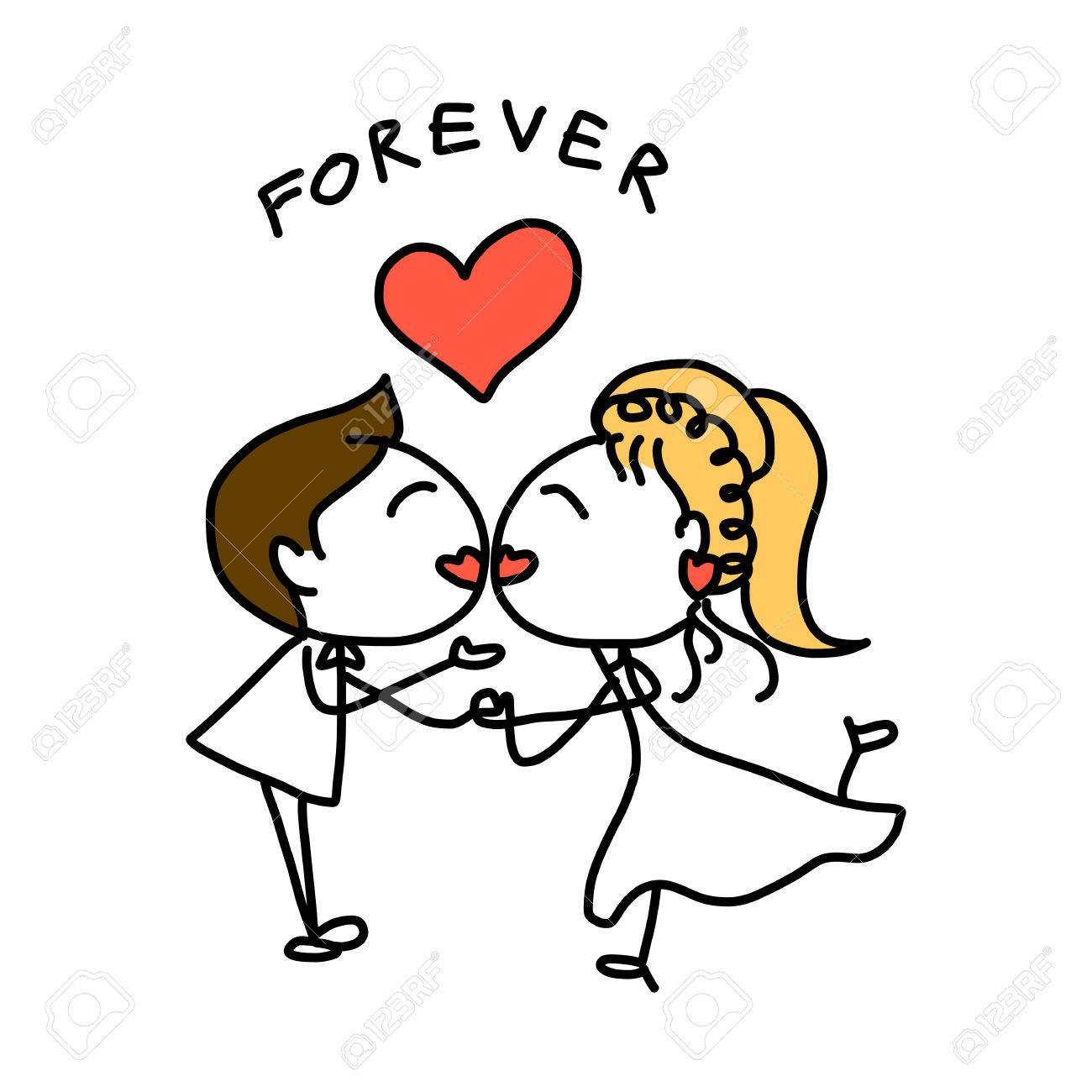1300x1300 Hand Drawing Cartoon Abstract Love And Wedding Royalty Free
