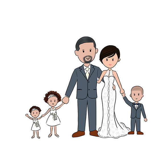570x578 Save The Date, Custom Wedding Portrait, Custom Family Portrait