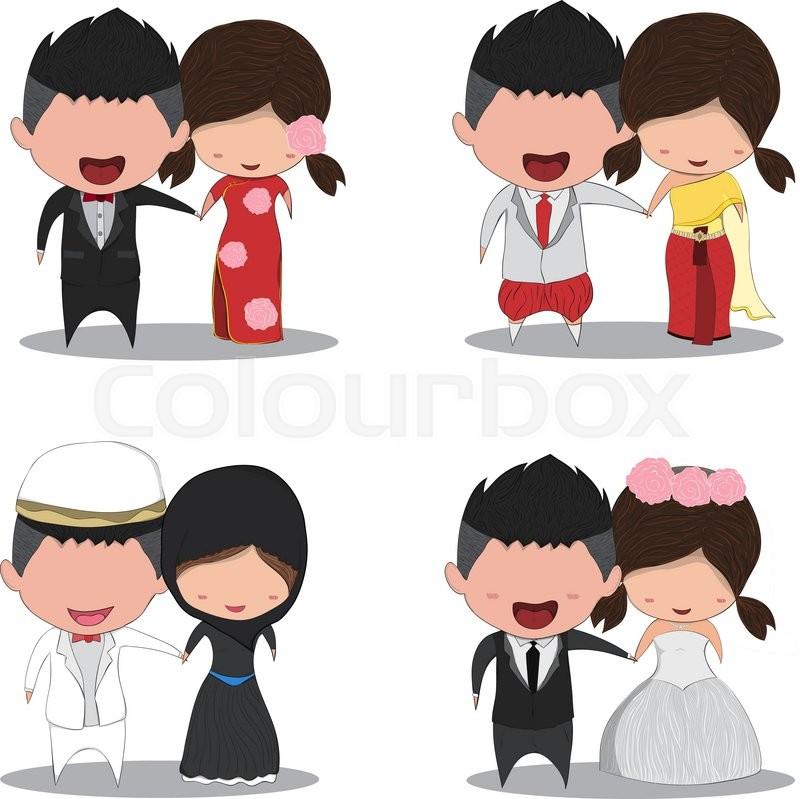800x799 Set Cute Cartoon Wedding Couple Men And Women Marriage, Cute
