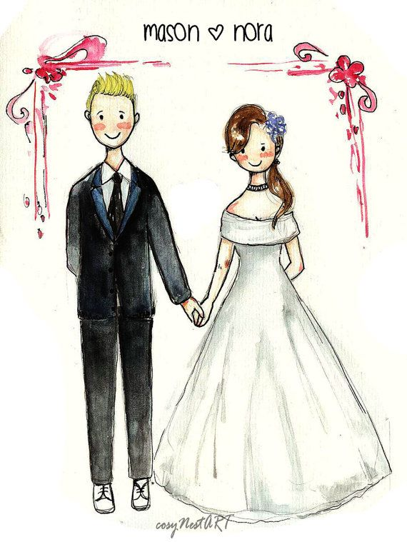 570x759 Custom Portrait Wedding Couple Drawing Couple By Cosynestart My