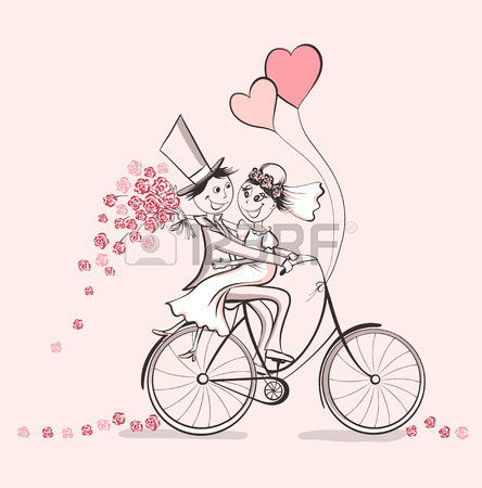 444x450 Just Married. Hand Drawn Wedding Couple In Love On Bicycle. Cute