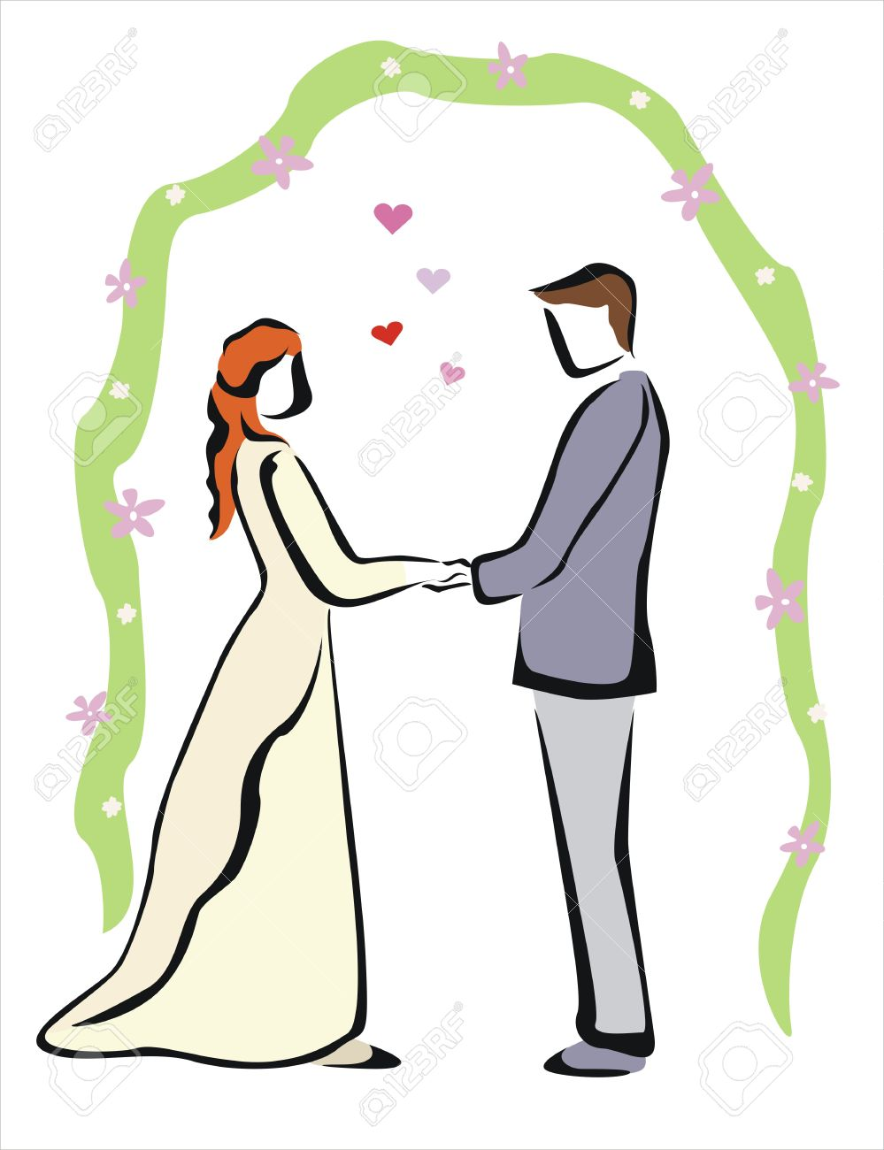 999x1300 Drawing Of A Happy Wedding Royalty Free Cliparts, Vectors, And