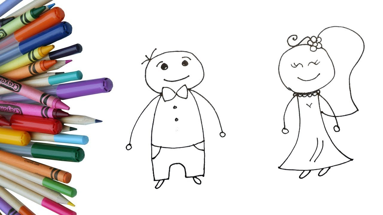1280x720 How to Draw Bride and Groom for Kids Easy Wedding Drawing