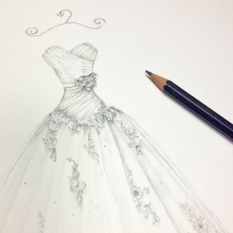 900x900 pencil wedding dress portrait by appleberry press