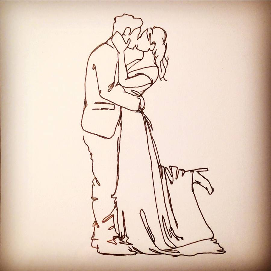 900x900 personalised wedding kiss drawing by love lines