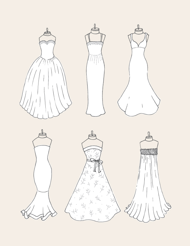 612x792 wedding dress guide drawing