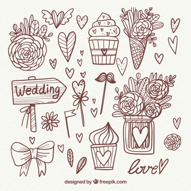 626x626 Beautiful Hand Drawn Wedding Elements Collection Vector Free