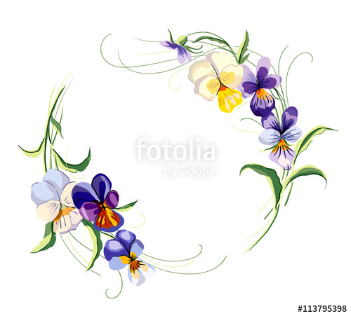 500x451 Circle Frame From Violets. Wedding Drawing. Vector Hand Drawn