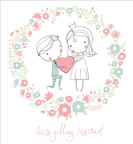 509x550 Cute Wedding Card Hand Drawn Vector 08