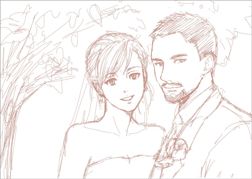 880x623 Wedding Drawing Pictures