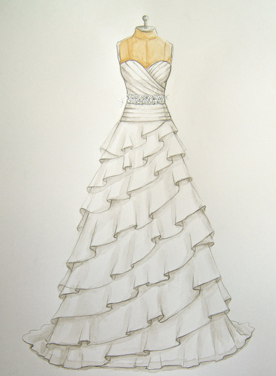 Wedding dress drawing at getdrawings free for personal use 570x776 custom wedding dress illustration on dress form wedding and junglespirit Choice Image