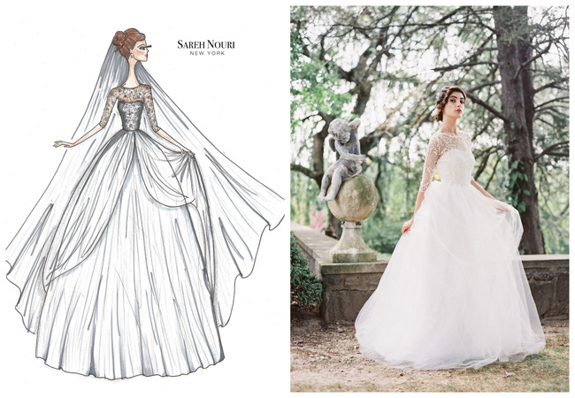 Wedding dress drawing at getdrawings free for personal use 650x450 from sketch to gown wedding dress designer sketches by sareh nouri junglespirit Images