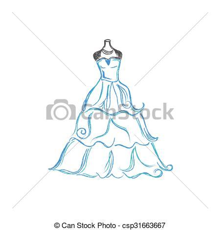 450x470 Wedding Dress. Wedding, Dress, Sketch, Vector Illustration Clip