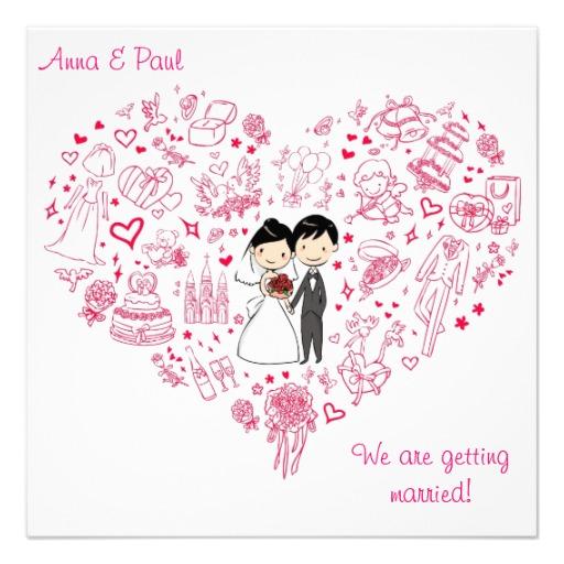 512x512 Cute Pink Wedding Invitation Drawing Heart