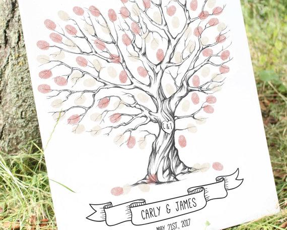 570x456 Wedding Tree Fingerprint Thumb Print Guest Book Finger