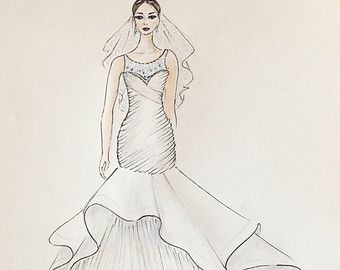 340x270 Custom Bride Portrait, Original Bride With Veil Drawing, Custom