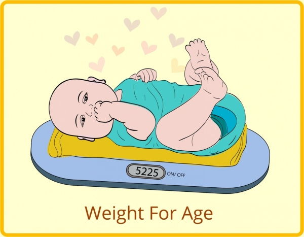 600x467 Baby Weight Drawing Cute Colored Cartoon Design Free Vector