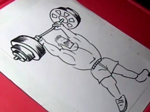 480x360 How To Draw Weight Lifter Drawing For Kids Step By Step