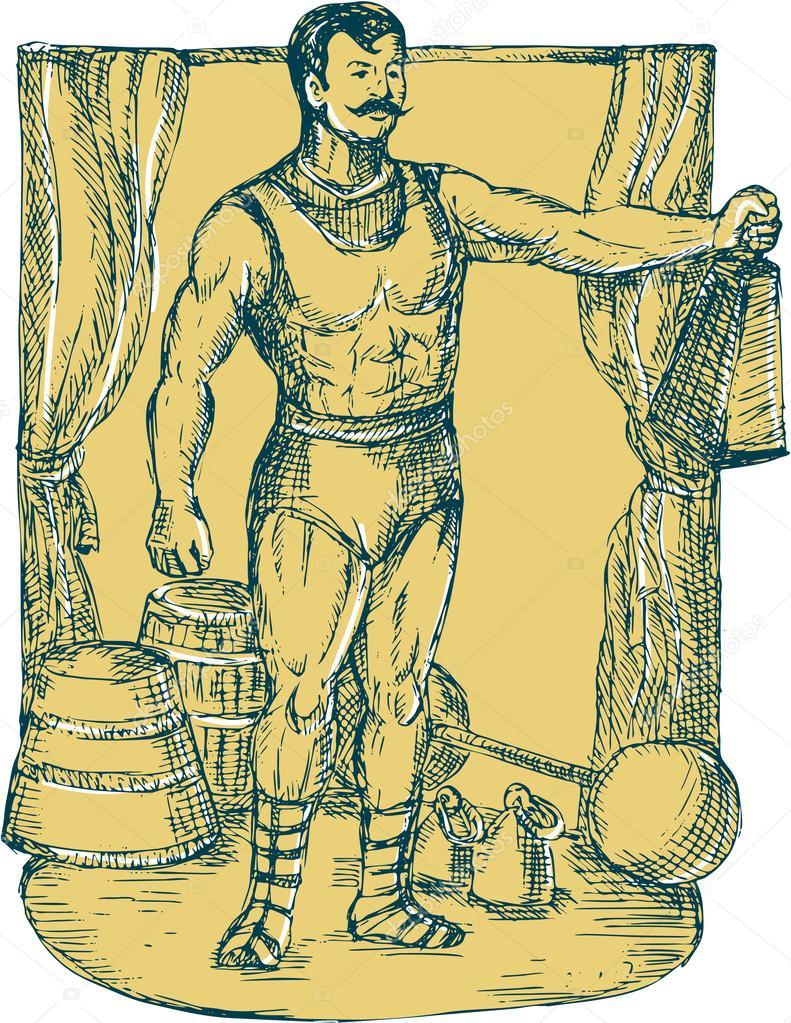 791x1023 Strongman Lifting Weight Drawing Stock Vector Patrimonio