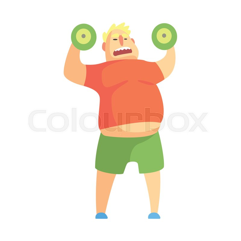 800x800 Funny Chubby Man Character Doing Gym Workout Weight Lifting