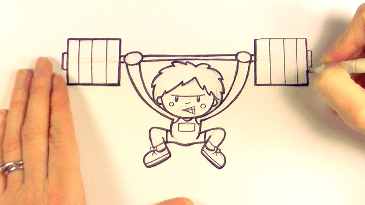 1280x720 How To Draw A Cartoon Weightlifter