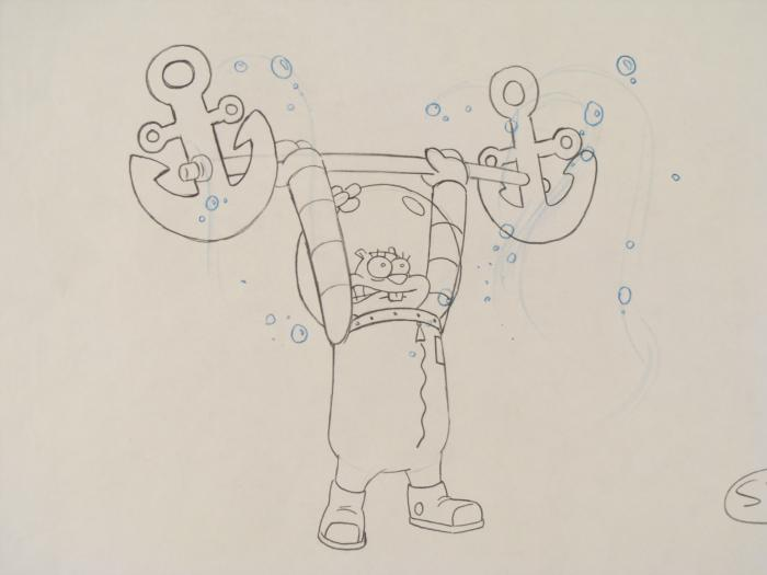700x525 Sandy Lifting Original Spongebob Drawing Art Animation