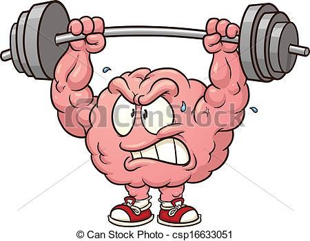 450x350 Weightlifting Brain. Brain Lifting Weights Clip Art. Vector
