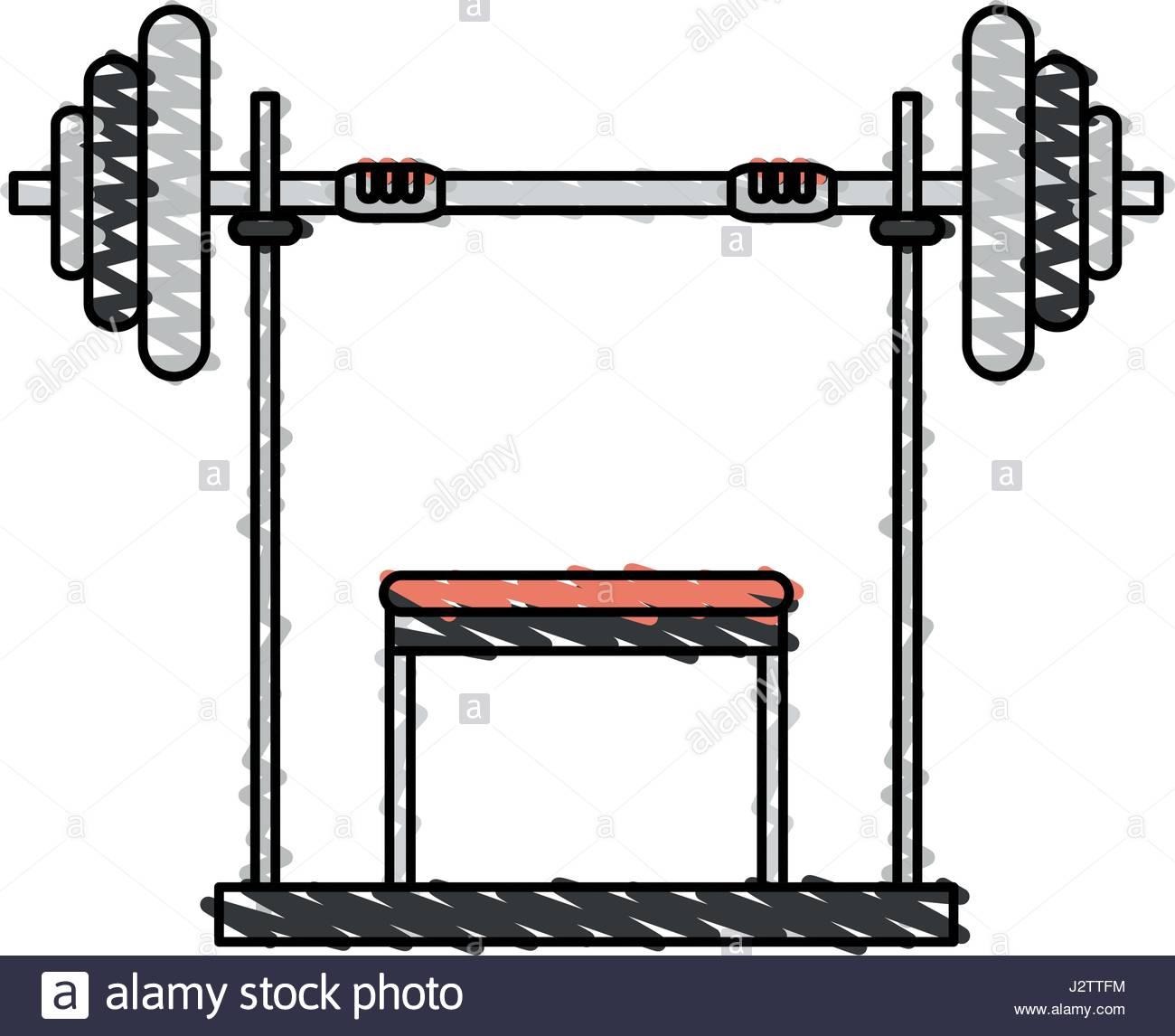 1300x1146 Color Drawing Pencil Cartoon Weight Lifting Machine Stock Vector