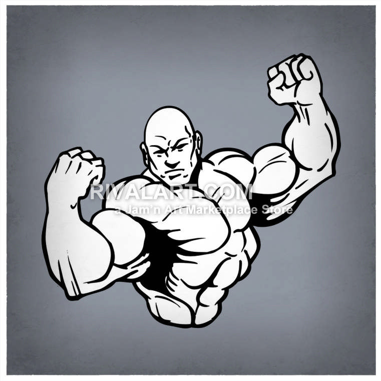 761x761 Weightlifter Flexing Muscles Bodybuilder Graphic Black White