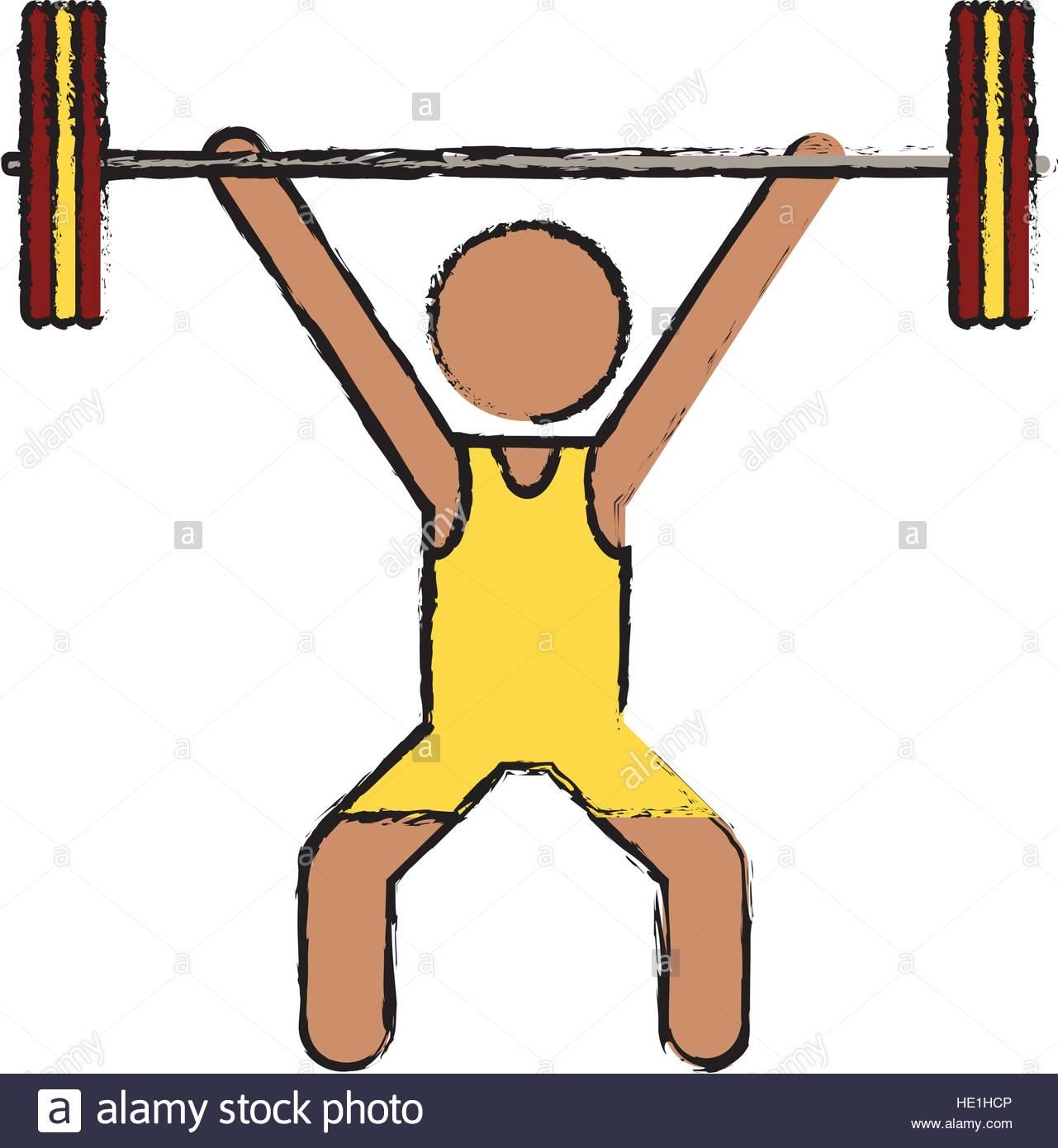 1281x1390 Drawing Man Weight Lifter Sport Athlete Stock Vector Art