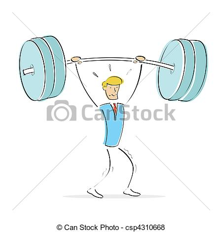 450x470 Vector Man Doing Weight Lifting. Illustration Of Vector Body