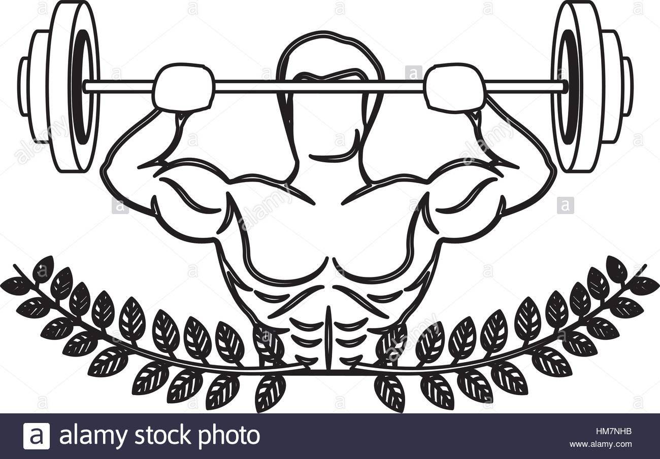 1300x905 Contour Ornament Leaves With Muscle Man Lifting A Disc Weights