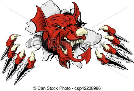 450x306 Welsh Dragon Clawing Through. Welsh Red Dragon Y Ddraig Goch