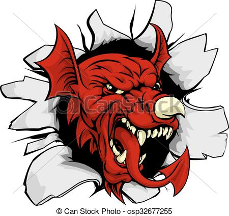 450x424 Welsh Dragon Smashing Out. An Illustration Of The Welsh Clipart