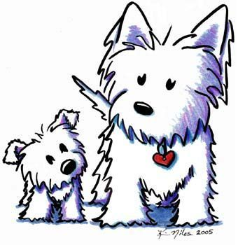 340x350 Westie Drawing Original Westie Dogs Drawing West Highland