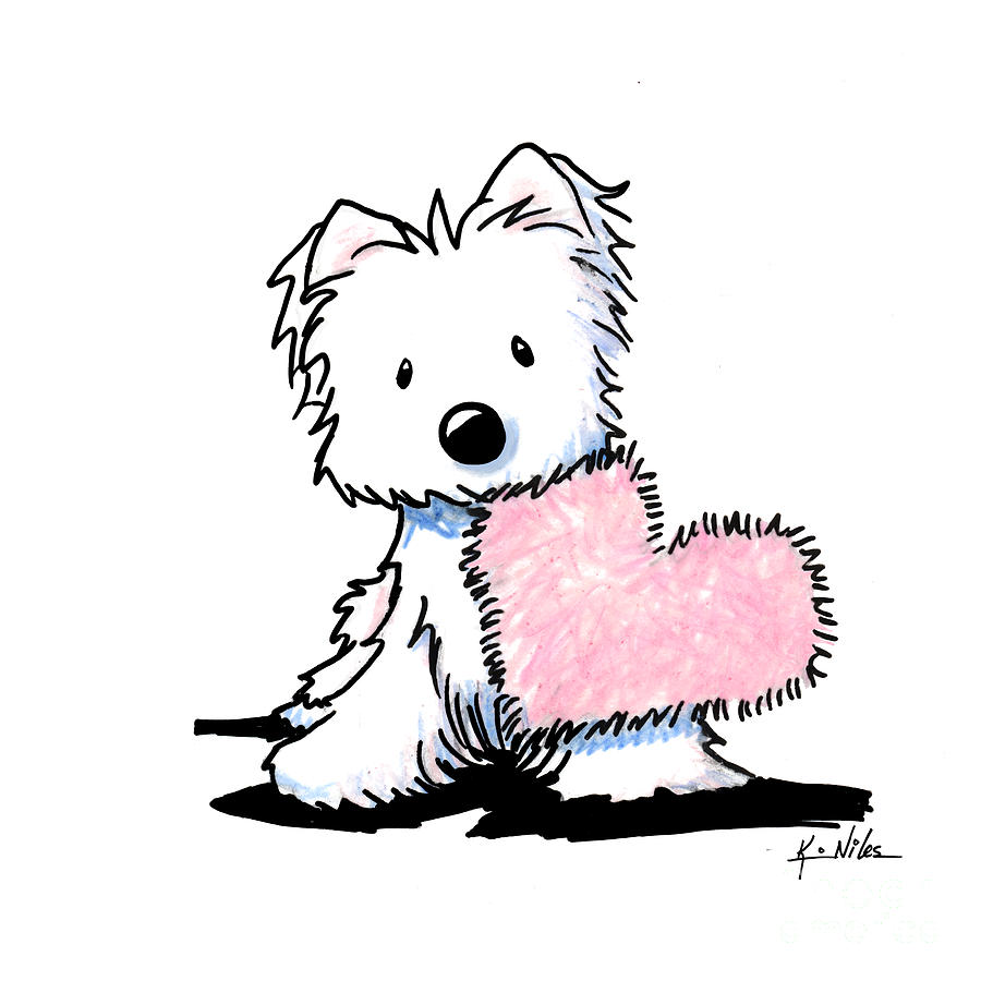 900x900 Westie Heart And Soul Drawing By Kim Niles