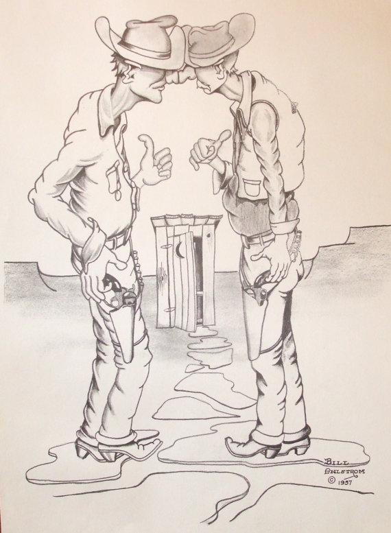 570x777 5 Vintage Western Cowboy Drawings By Bill Ahlstrom Western