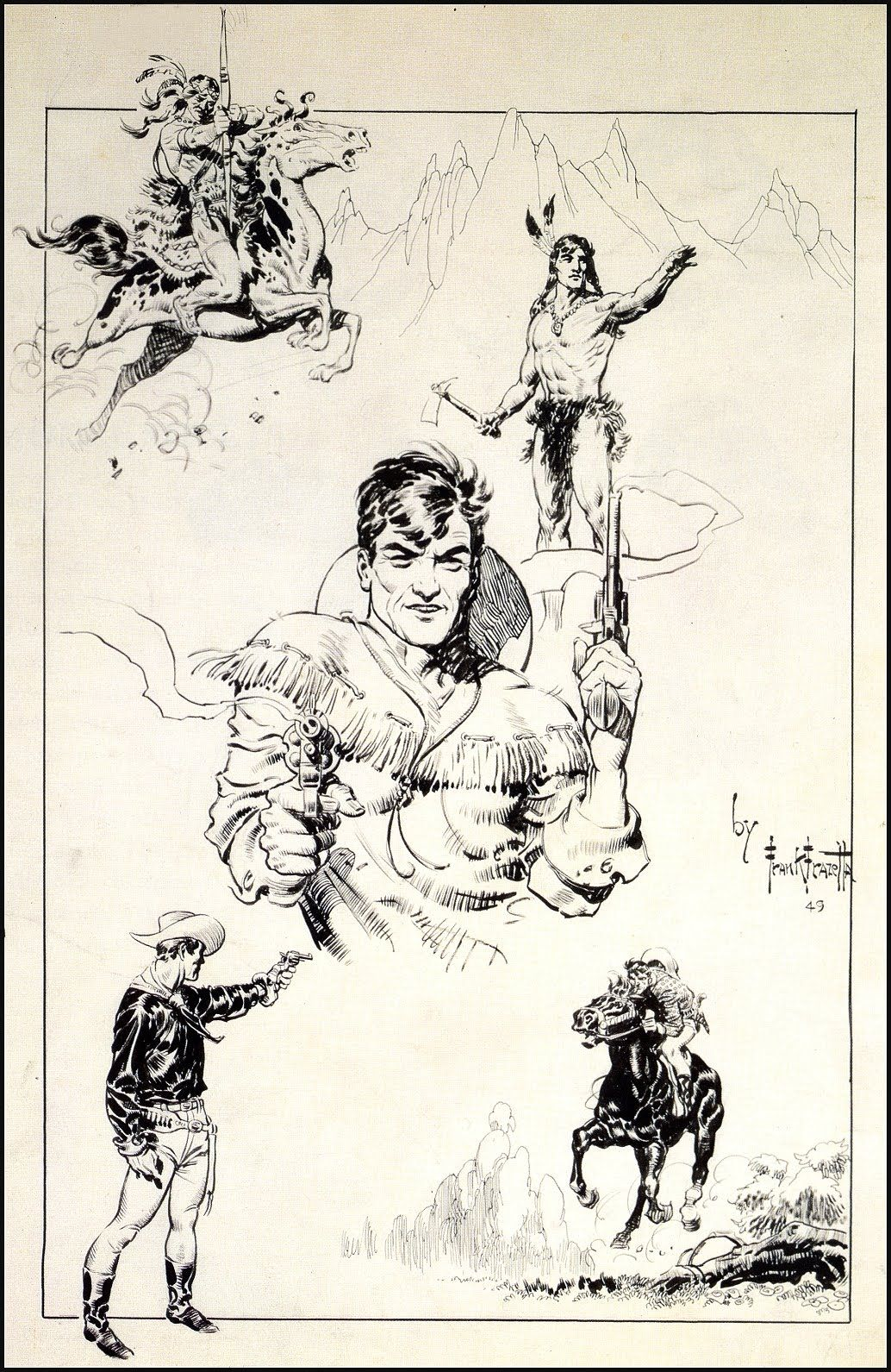 1034x1591 Frank Franzetta Cowboy Drawing Comics Artists And Illustrators