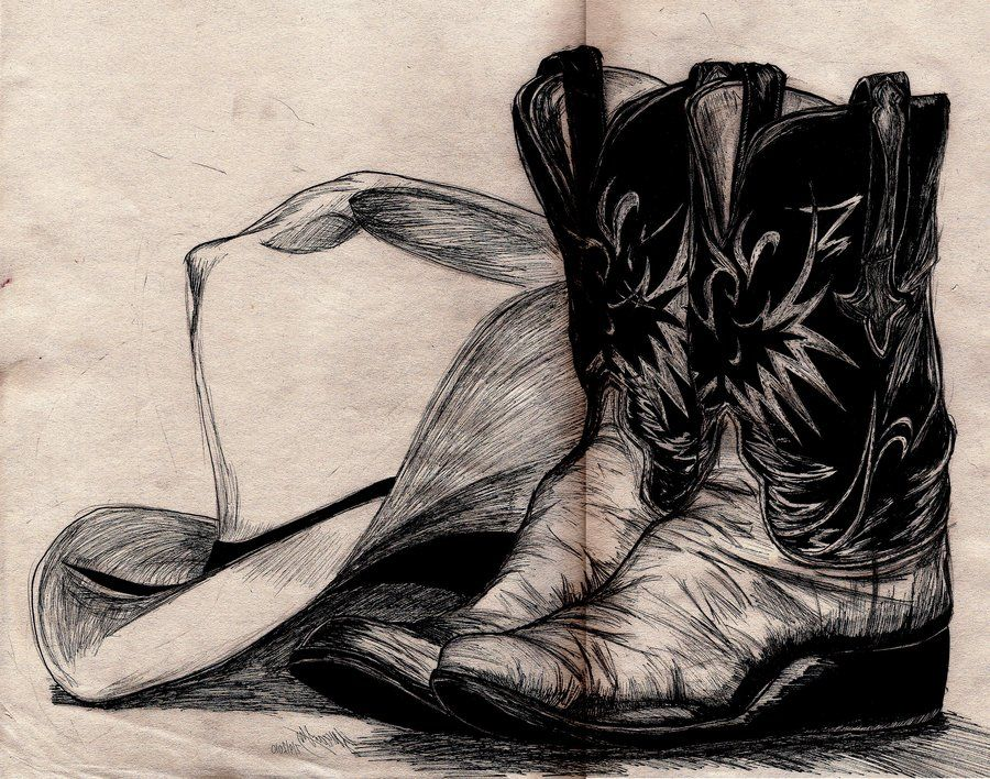 900x708 Drawings Of Cowboy Boots Cowboy Hat And Boots By ~pocketdreams