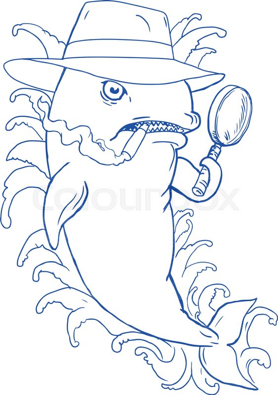 563x800 Caricature Drawing Cartoon Style Illustration Of A Detective Orca