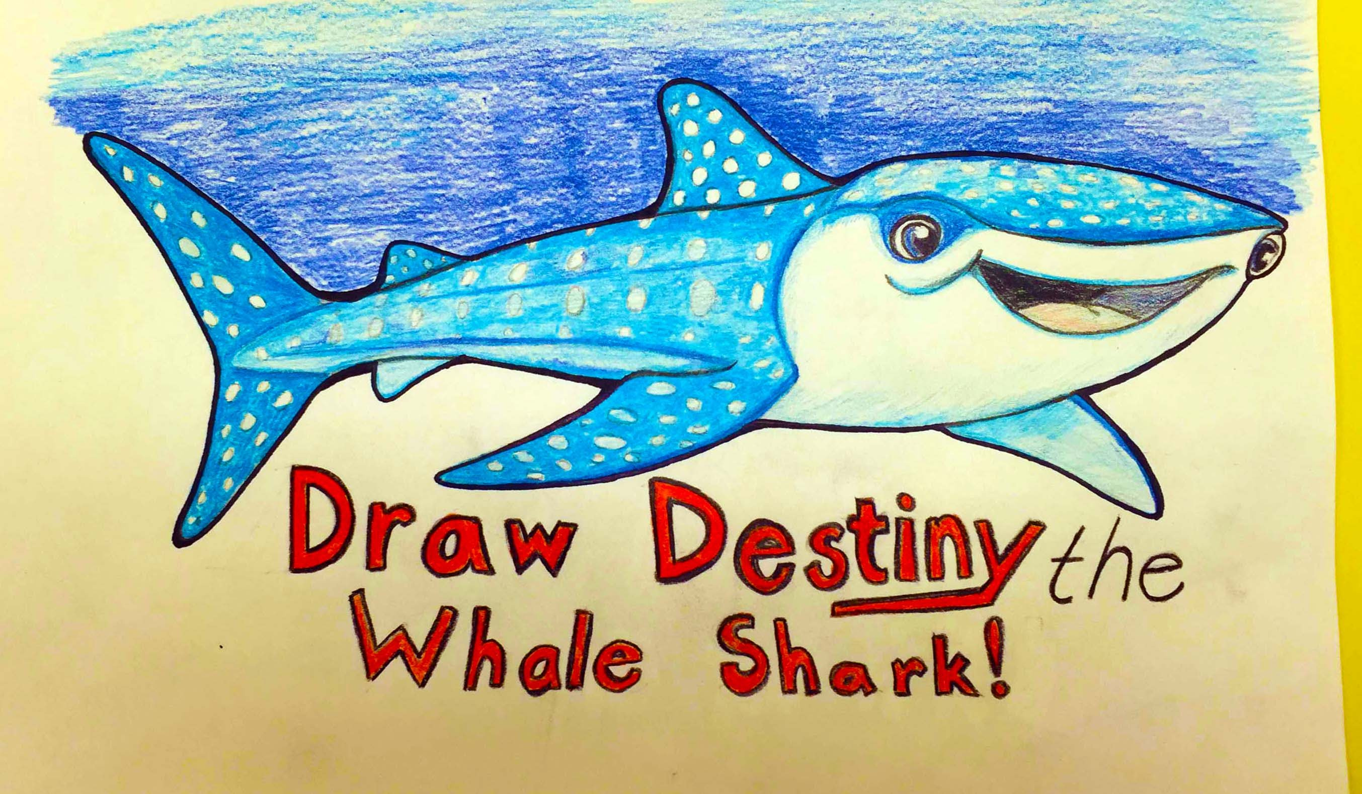 2707x1579 How To Draw Destiny The Whale Shark From Finding Dory Step By Step