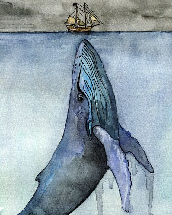 570x713 Whale Painting, Watercolor Painting, Whale Print, Whale And Boat