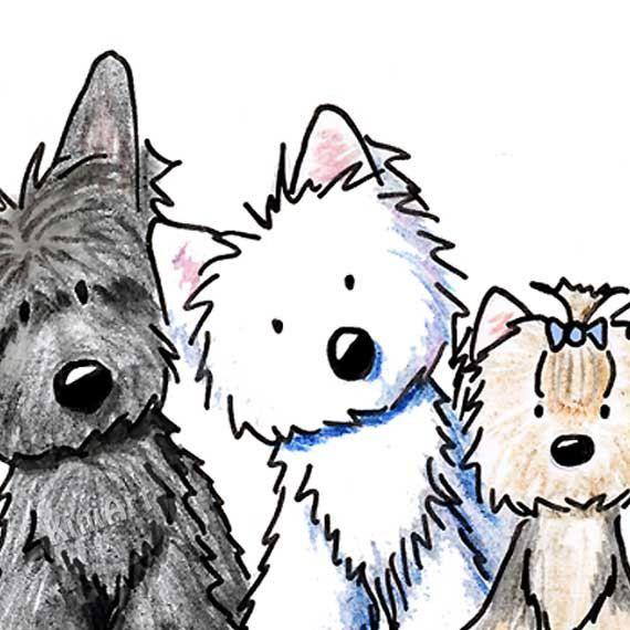 570x570 Original Art Westie Scottie Yorkie Wheaten Terrier Dogs By Kiniart