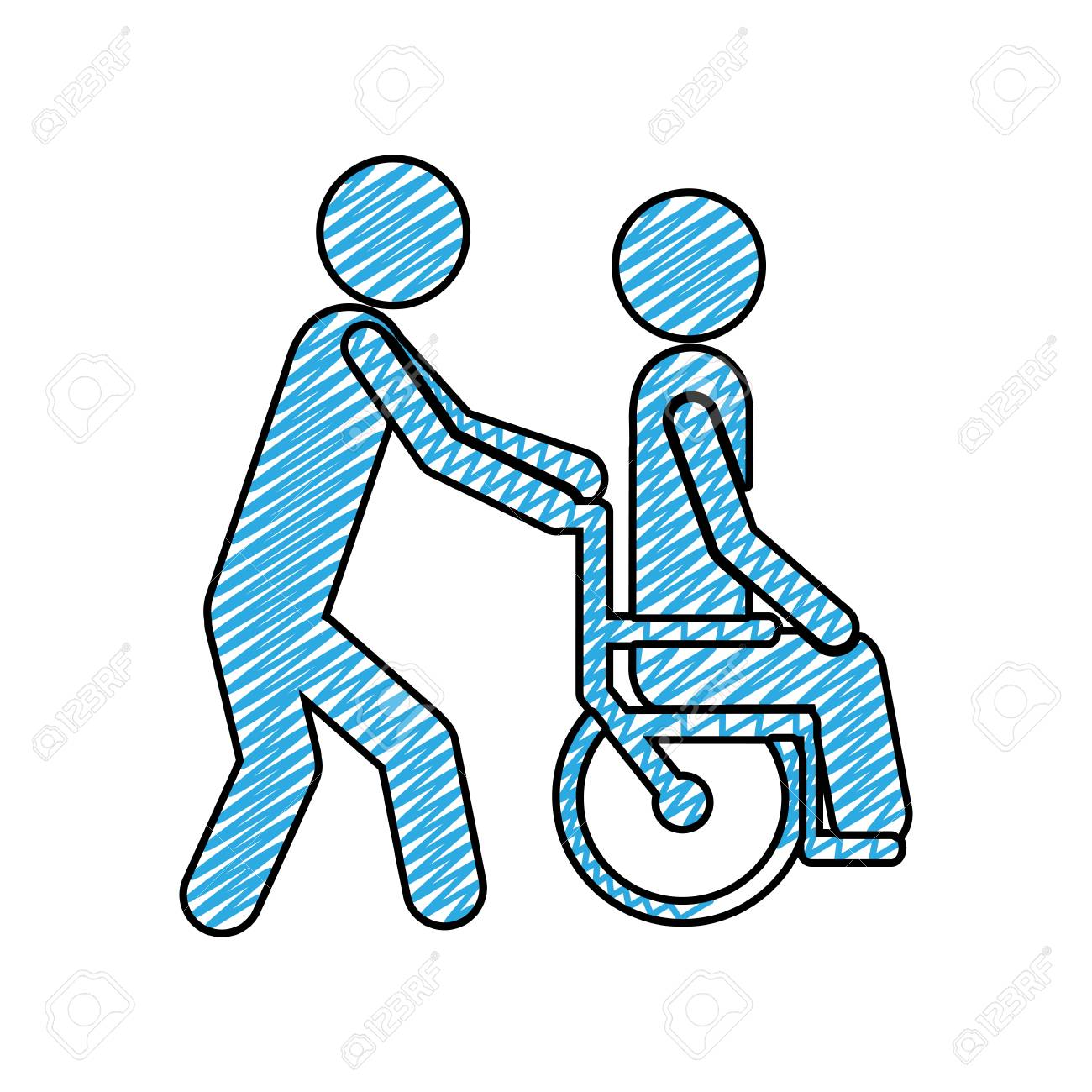 1300x1300 Color Pencil Drawing Of Person Helping Another Push A Wheelchair